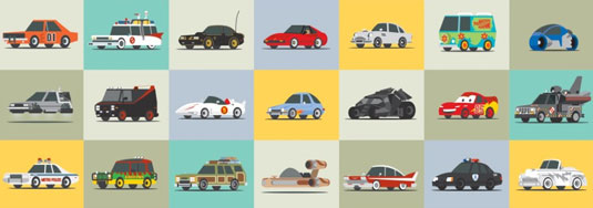 famous cars illustration