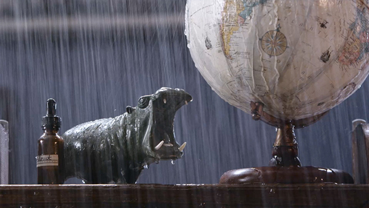 Hippo in a storm