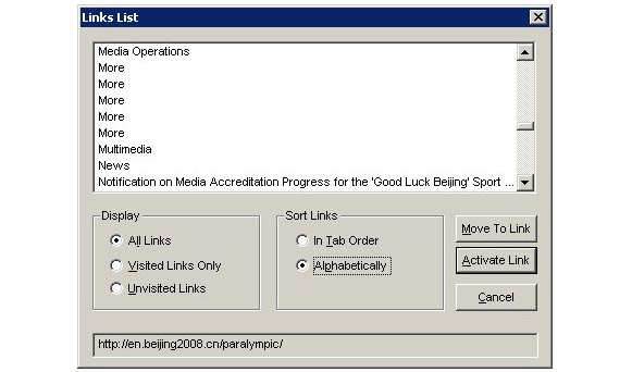 Poorly structured links shown in a screenreader