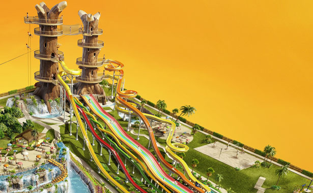 Detail from Romeu & Julieta's Club Dores theme park illustration
