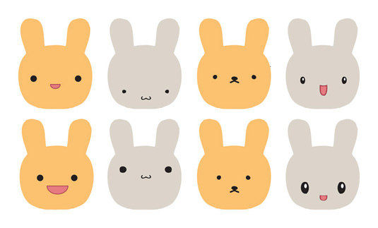 Kawaii design: faces