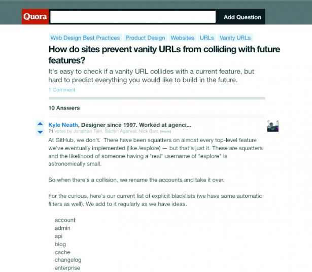 Quora has some great advice on preventing your username signups from 'stealing' valuable URL keywords
