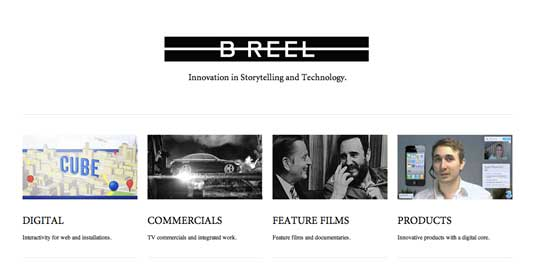 Website layouts: B-reel homepage
