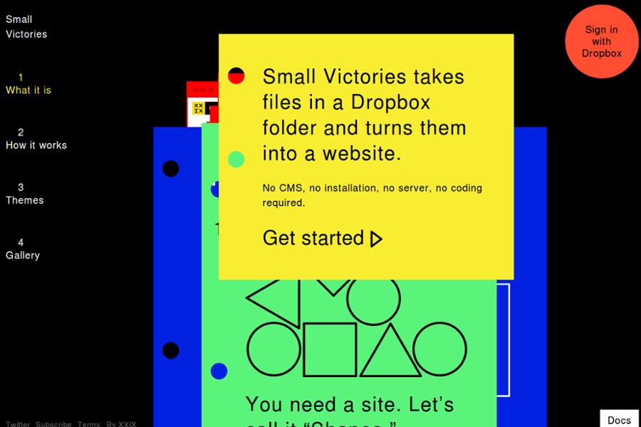 web design tools: Small Victories