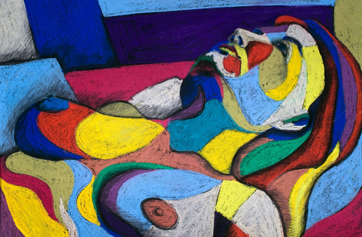 Colourful abstract drawing of a woman