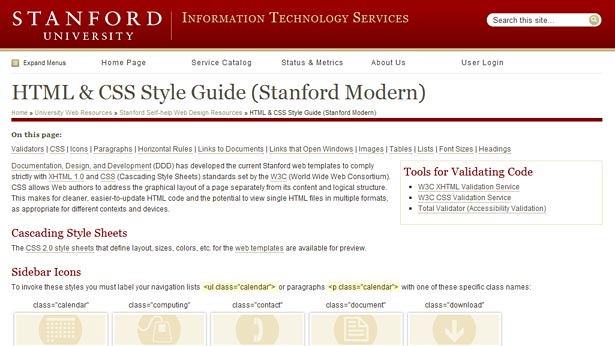 Stanford University's HTML and CSS Style Guide is a good example of a user-focused guide that provides clear, concise information without going overboard