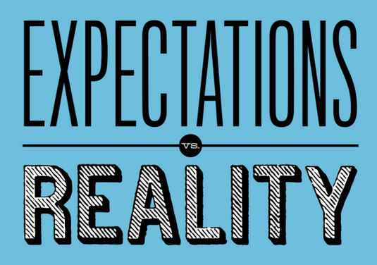 "Words reading ""Expectations vs Reality"""