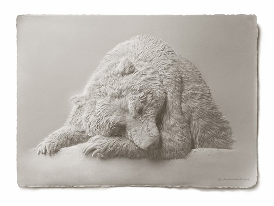 Calvin Nicholls Paper Art - grizzly finish