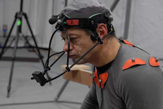 Andy Serkis in motion capture pose