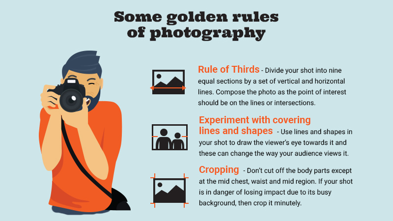 An illustration shows a man taking a photo, and text says to use the rule of thirds, leading lines and cropping in photography
