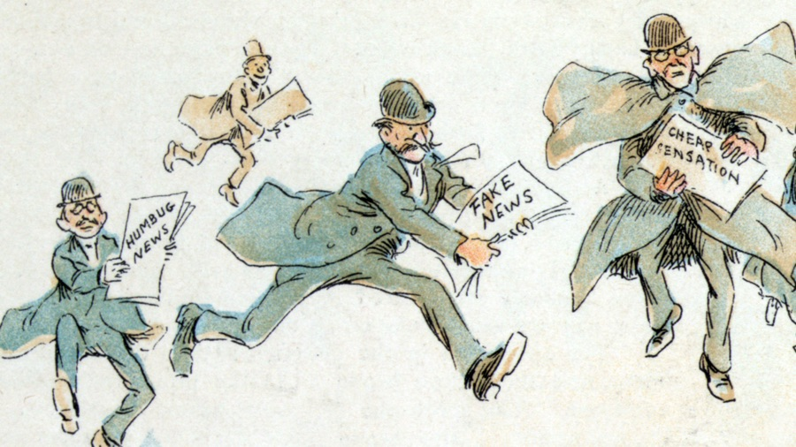 An 1894 cartoon mocking sensationalist newspaper reporters