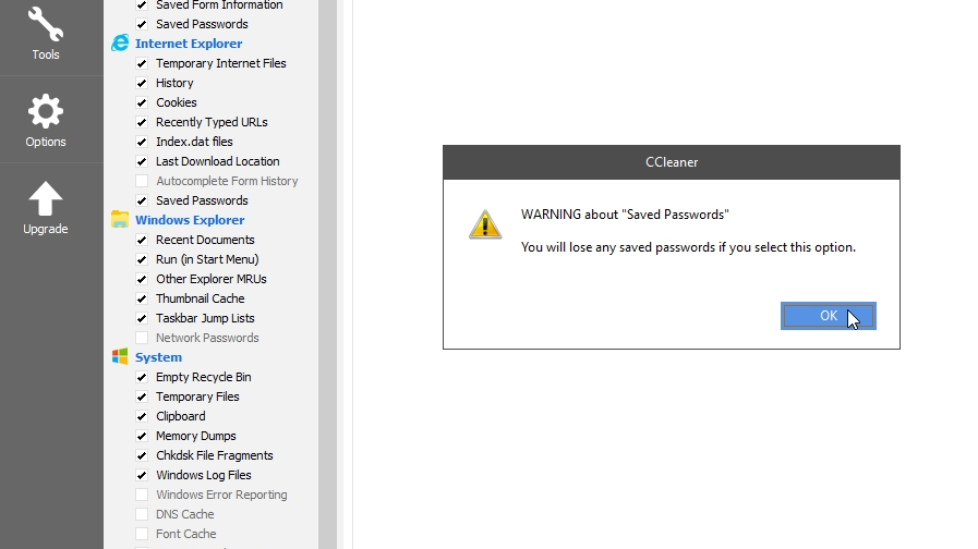 CCleaner saved password warning