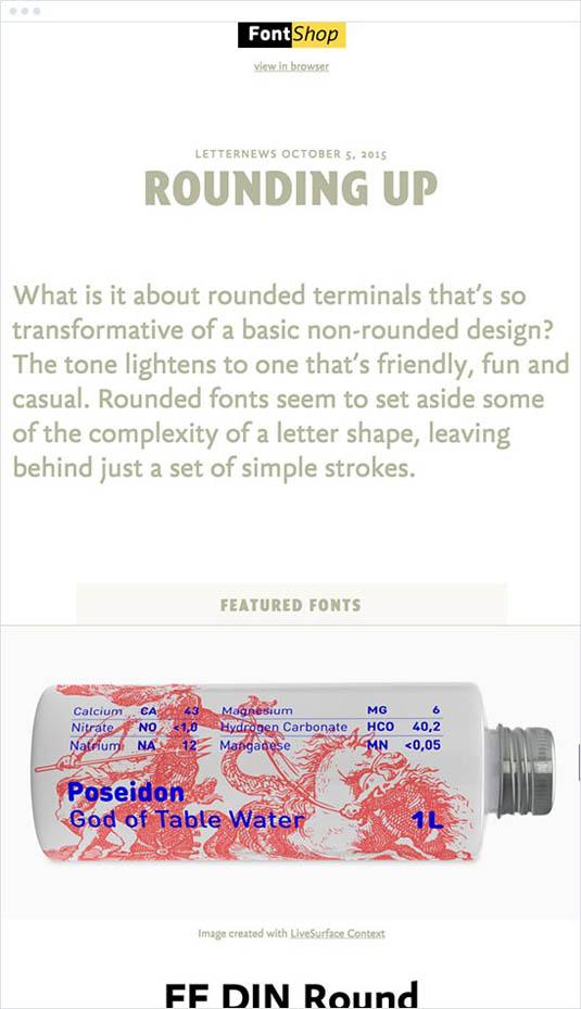 email newsletter designs: FontShop