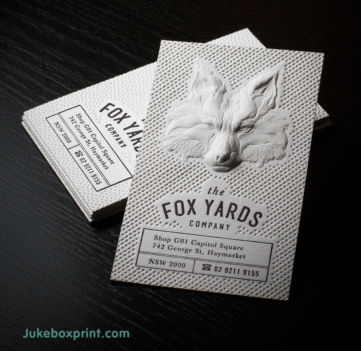 Letterpress business cards: Jukebox Print