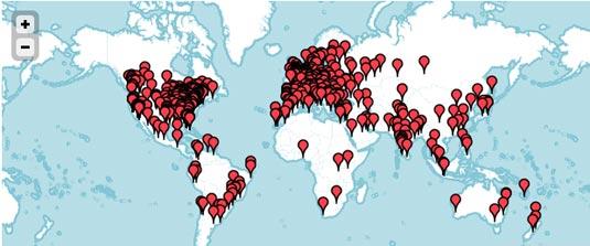 Dribbble meetups map