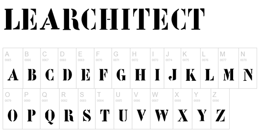 Free stencil fonts: LeArchitect