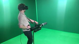 htc vive. ...and we got to play serious sam vr with it htc vive