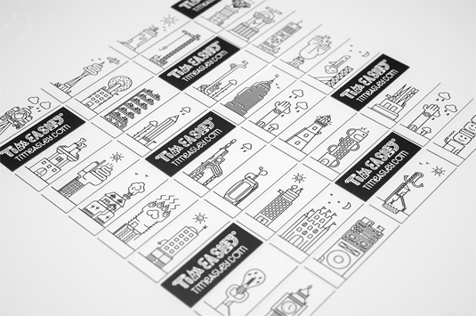 line illustration business cards