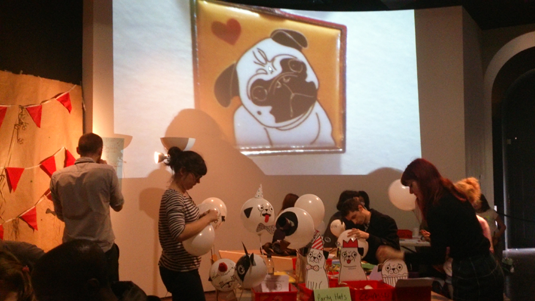 Gemma Correll's Pug Party drawing workshop on Sunday