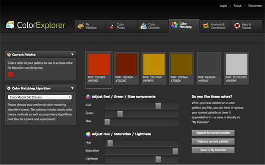 Colour search tools