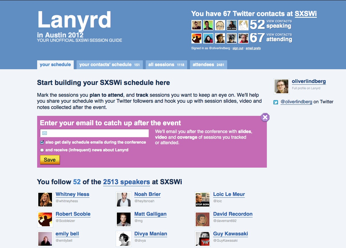 The excellent Lanyrd is a great way to find out who's going to a particular conference, and you can use it to arrange meet-ups for when you get there