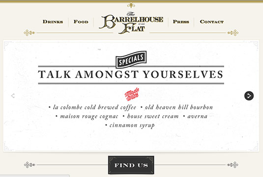 Sliders in web design: The Barrelhouse Flat