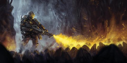 Flamethrower lighting