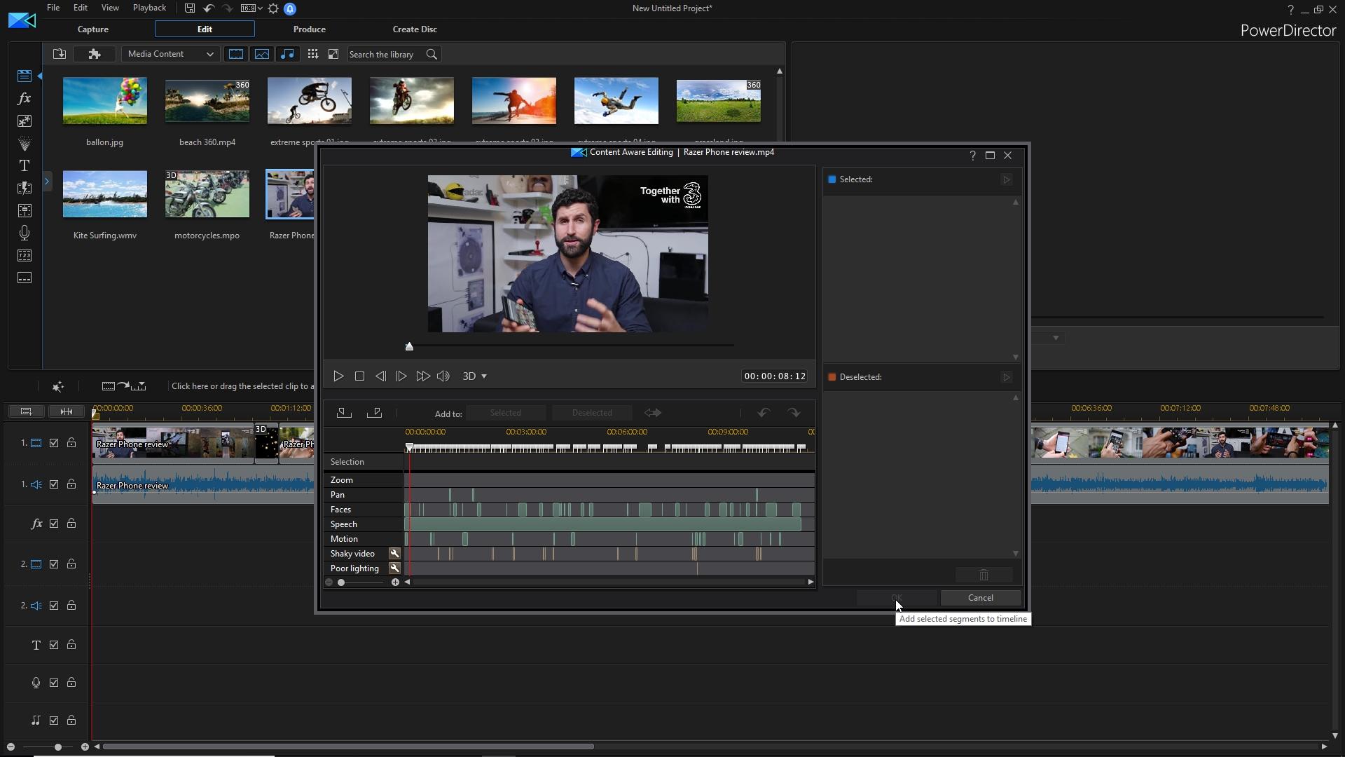PowerDirector 16 content-aware editing