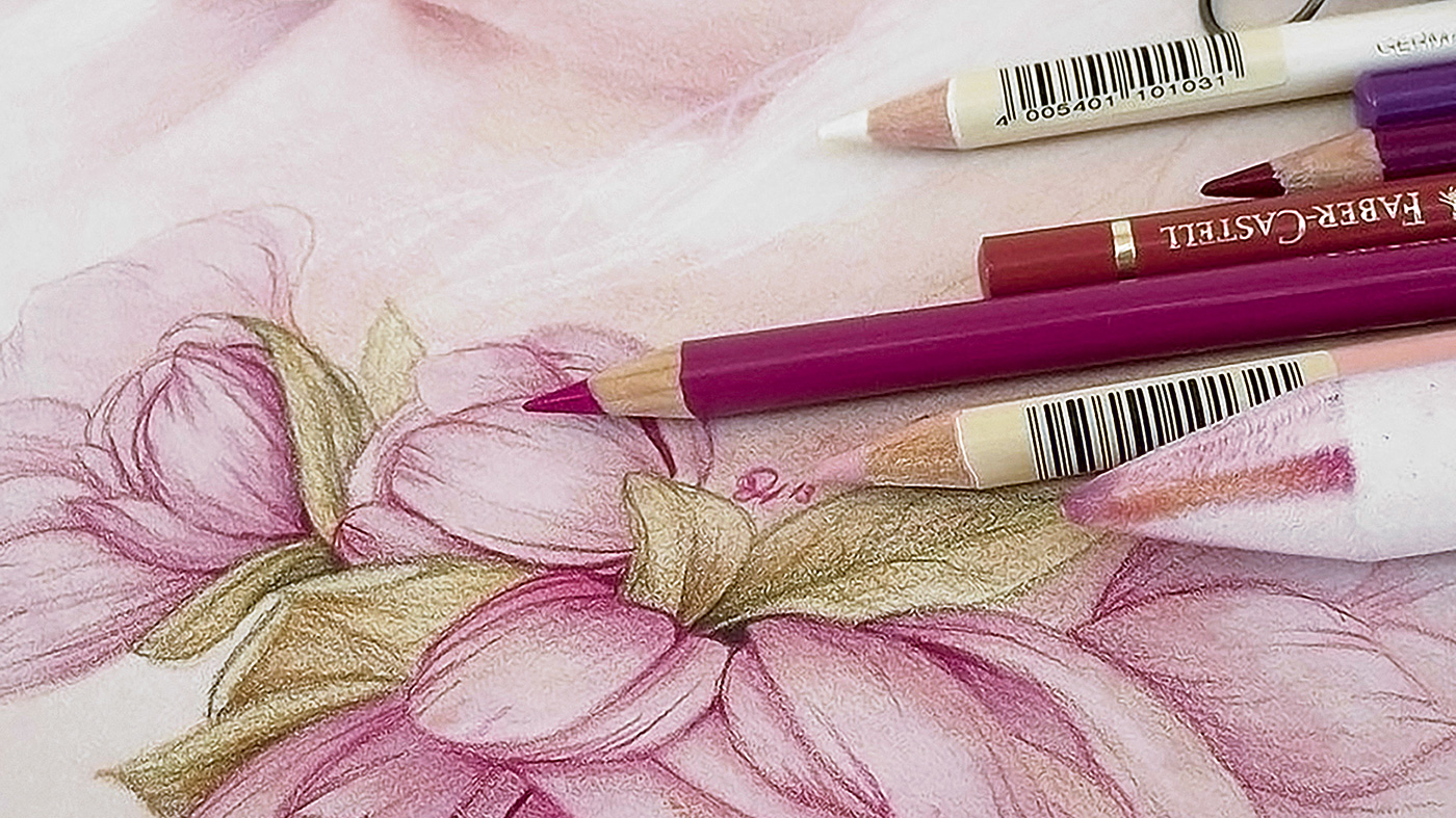 Drawing of some flowers, with pencils and a blending stump on top