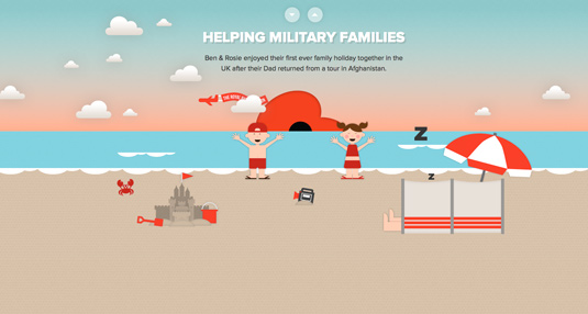Example of parallax scrolling websites: British Legion