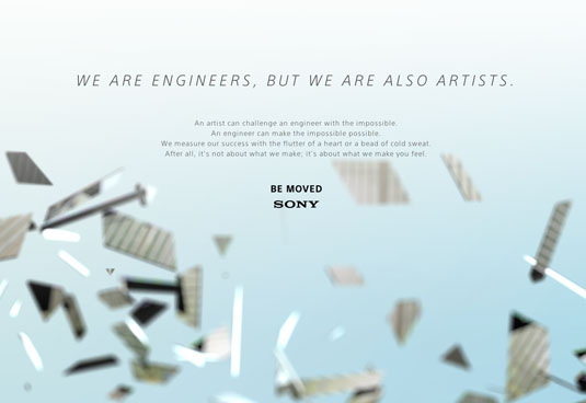 Example of parallax scrolling websites: Sony