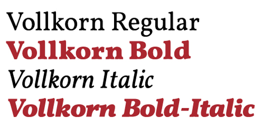 Google Fonts: Vollkorn
