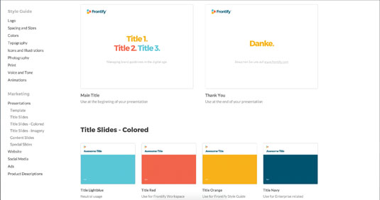 Style guide: Frontify