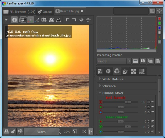 Free photo editing tools: RawTherapee