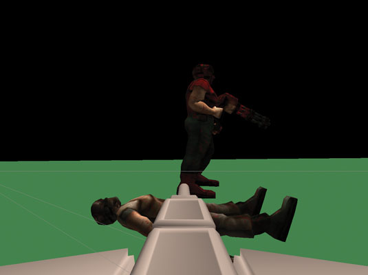 An enemy tank viewed through the first-person perspective of the player