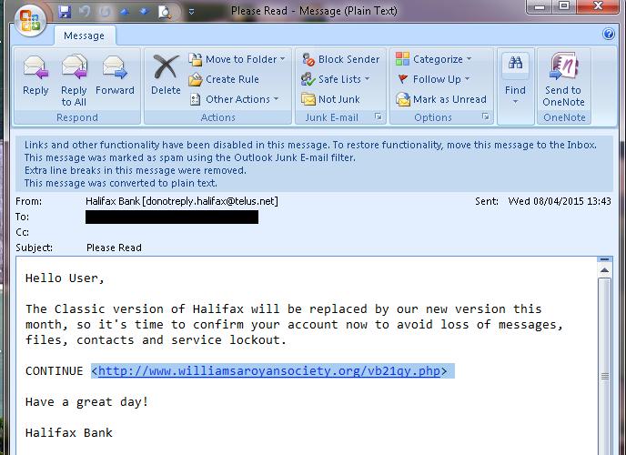 Halifax scam email
