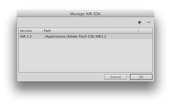 Adobe Flash CS6: Manage what AIR SDKs you have available