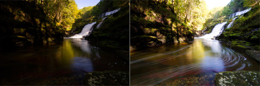 Two images of the waterfall and pool, one darker and one lighter