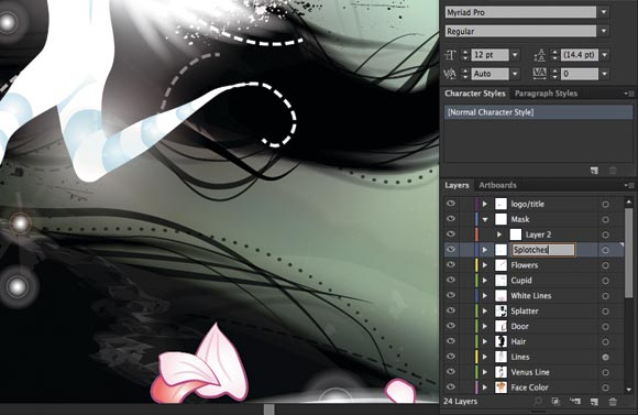 Adobe Illustrator CS6: You can now edit names of layers, swatches, art boards
