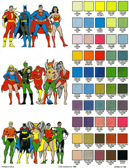 Dc comic colour chart