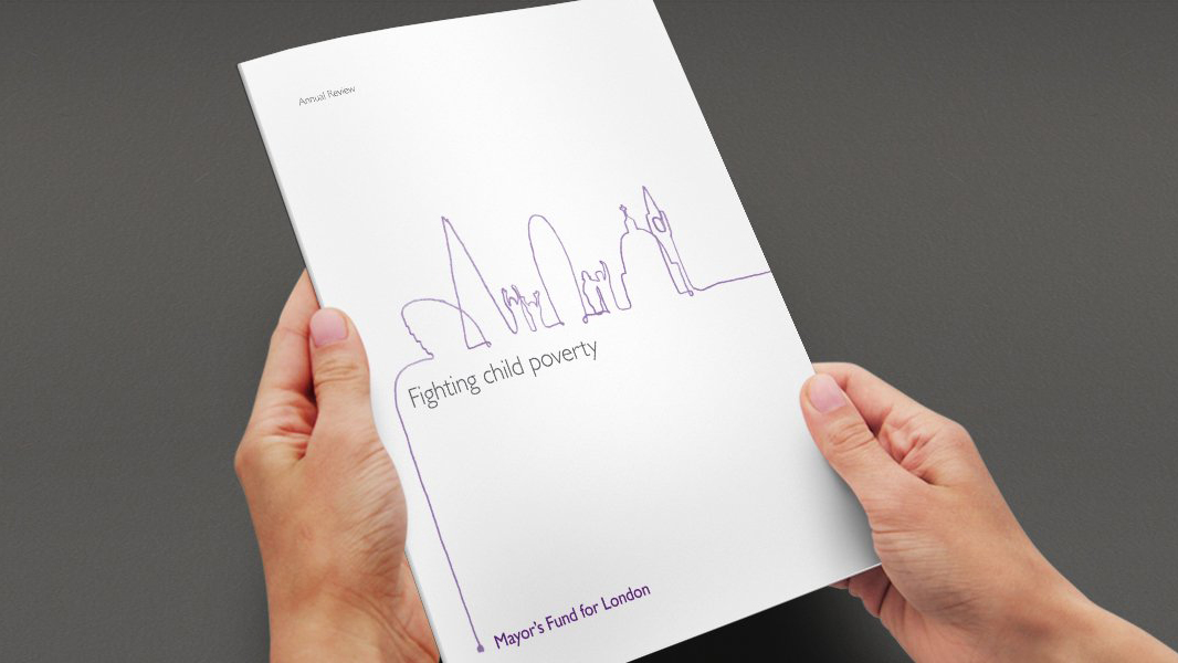 Fighting child poverty report cover with London skyline doodle illustration