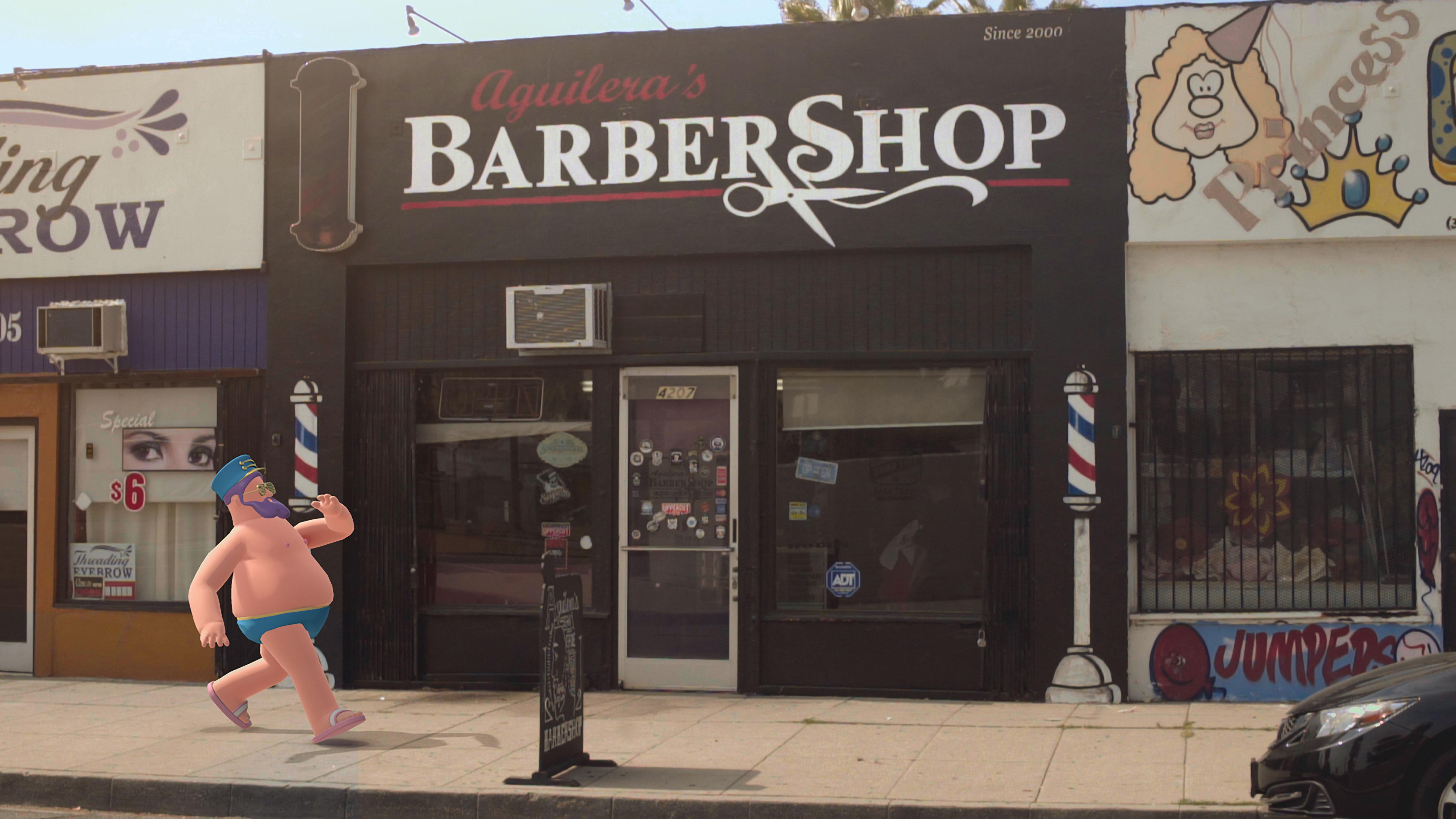 Nexus Studios' Hotstepper character walking past a barbershop