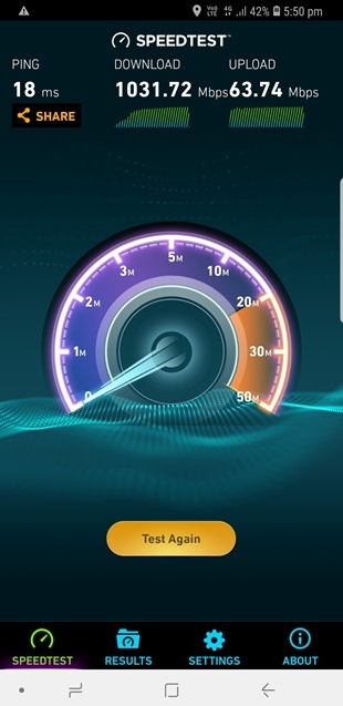 Telstra data speed test on Samsung Galaxy S9