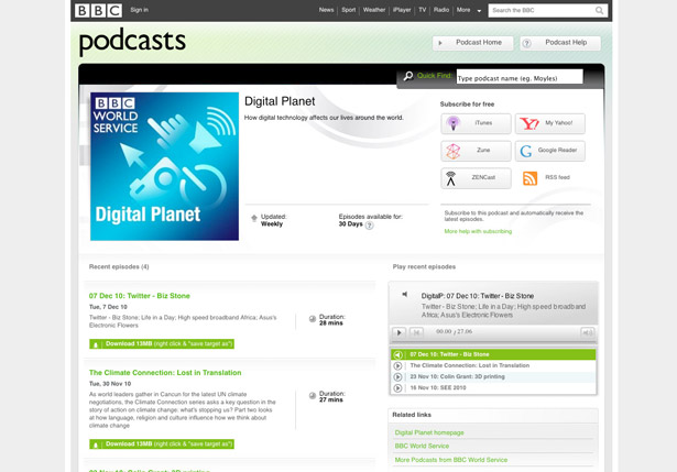 Which tech podcast: Digital Planet