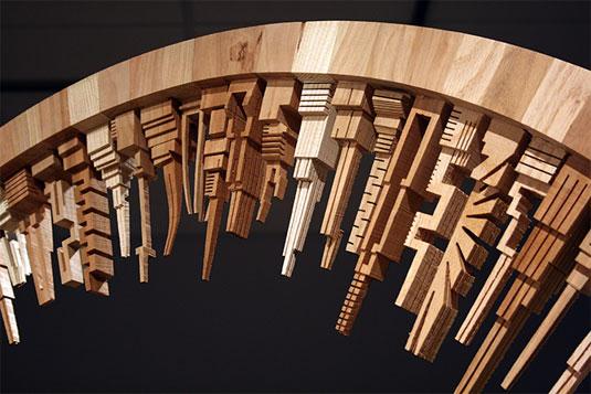 Wooden city sculptures
