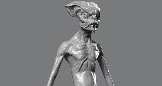 sculpting an alien torso