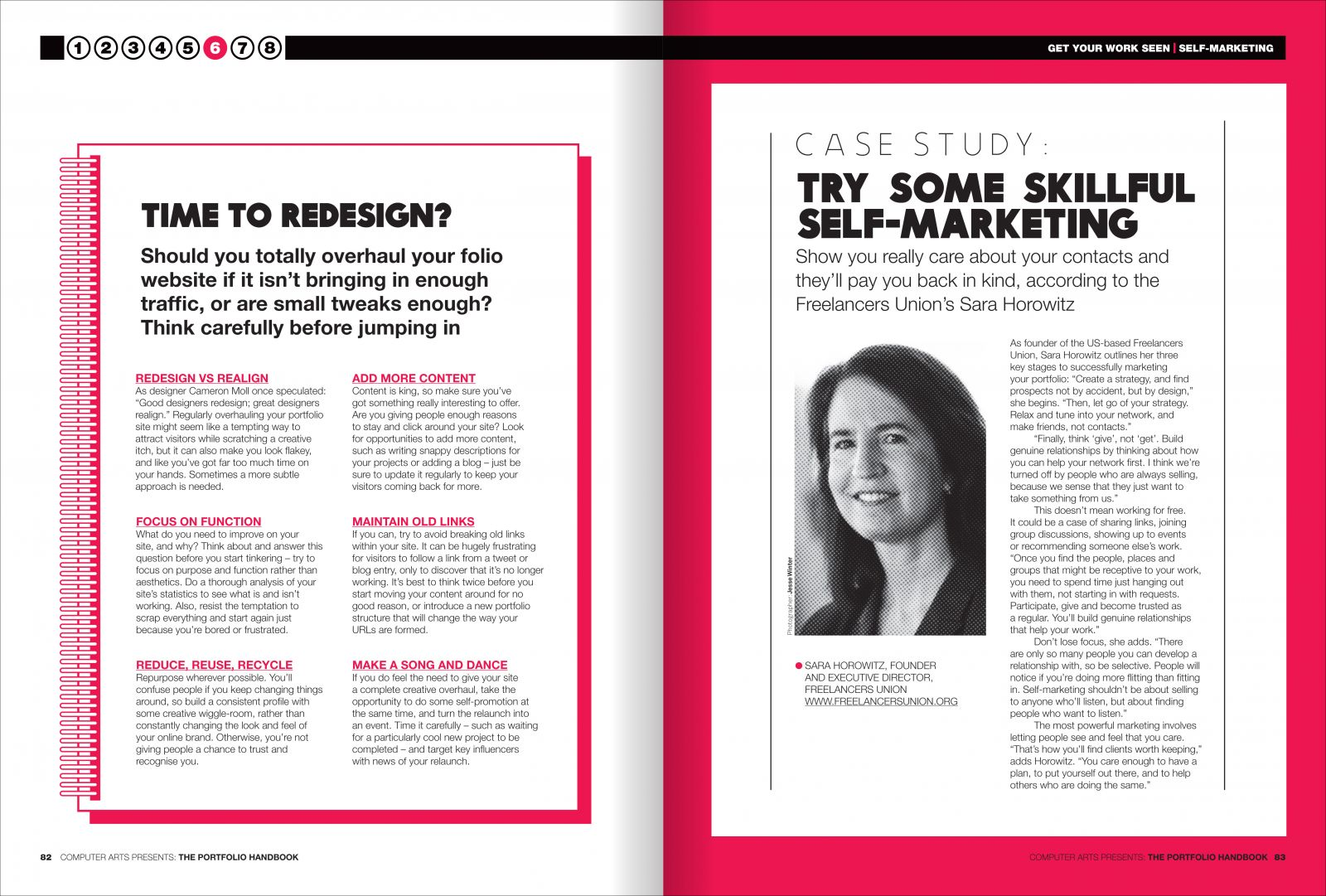 Spread from chapter six: try some skillful self-marketing