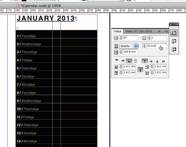 Create a calendar: step 8