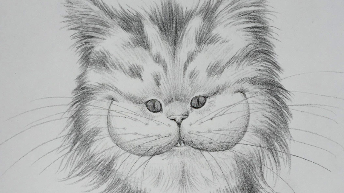 Pencil drawing of a smiling cat