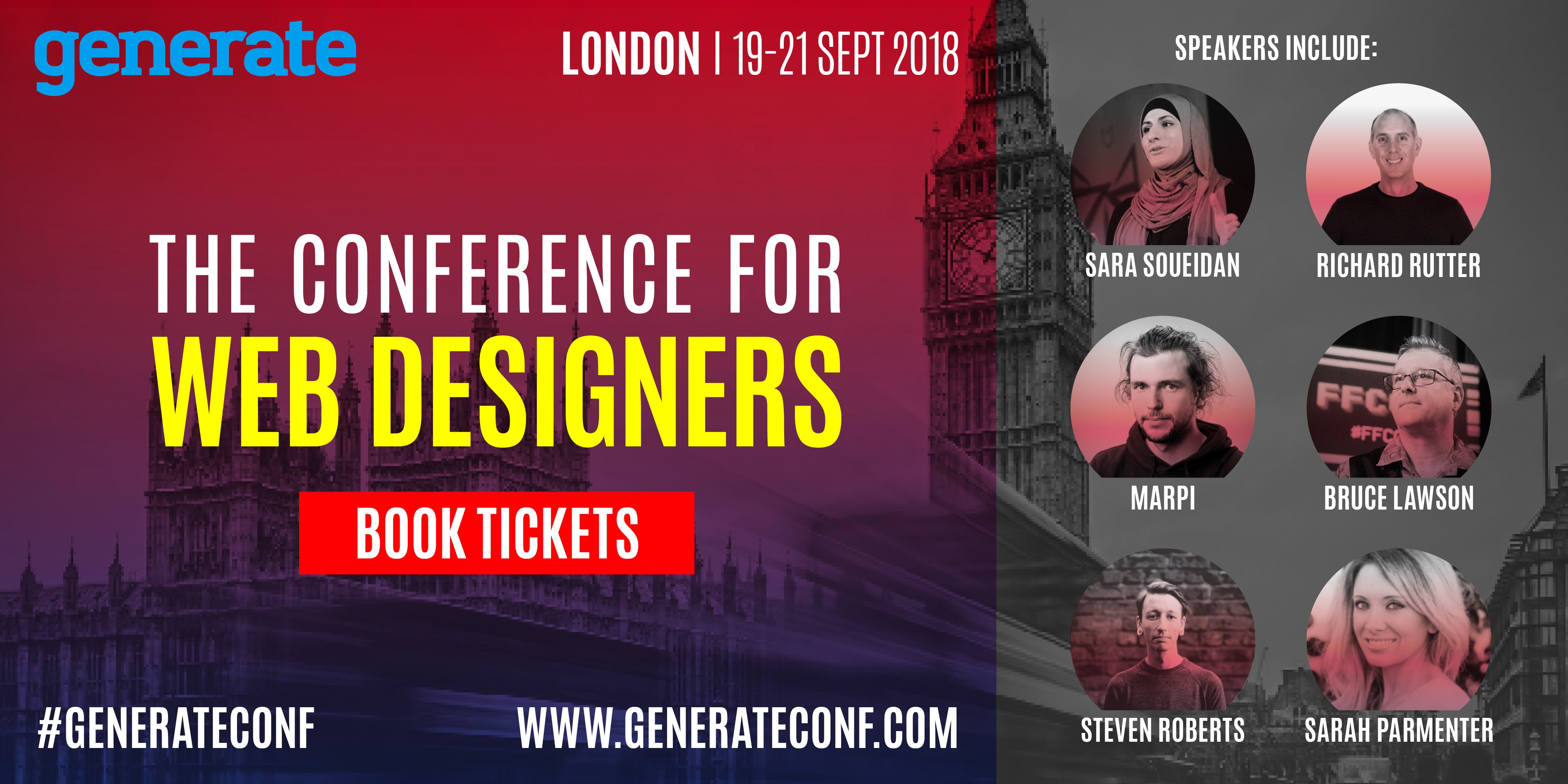 An image displaying the speakers appearing at Generate London and providing a link to buy tickets.